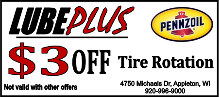 LubePlus 3 dollars off Tire Rotation