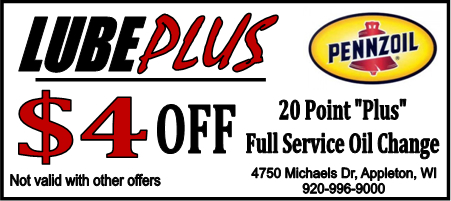 LubePlus 4 dollars off 20 Point Plus Full Service Oil Change