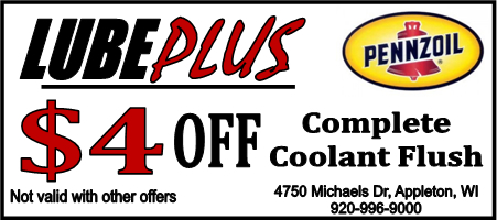 LubePlus 4 dollars off Complete Coolant Flush